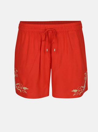 Pantaloni scurti rosii cu broderie florala - VERO MODA Evy