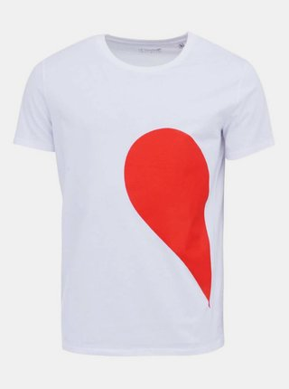 Tricou alb cu print - ZOOT Original His Side of the Heart