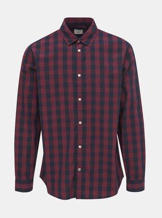 Vínová kockovaná košeľa Jack & Jones Gingham