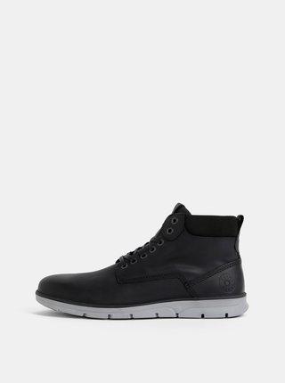 Čierne pánske kožené kotníkové topánky Jack & Jones Tubar