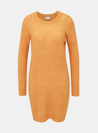 Horčicové svetrové šaty s prímesou vlny VILA Owsa