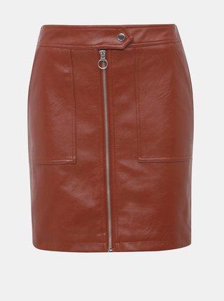 Cihlová koženková sukně ONLY Abigail