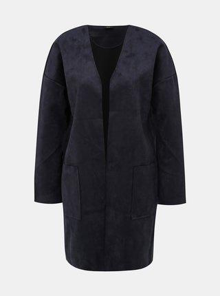 Tmavomodrý kabát v semišovej úprave ONLY Nicola