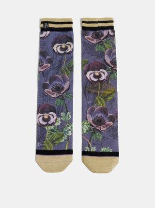 Fialové dámske kvetované ponožky XPOOOS