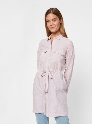 Rúžové pruhované košeľové šaty VERO MODA Luca