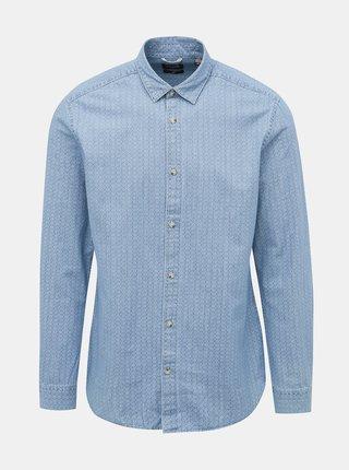 Modrá vzorovaná košeľa ONLY & SONS Klas