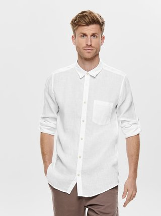 Camasa alba slim fit din in ONLY & SONS Luke