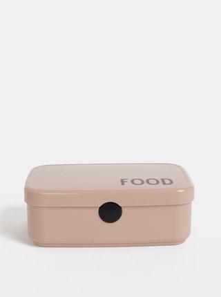 Starorůžový box na jídlo Design Letters