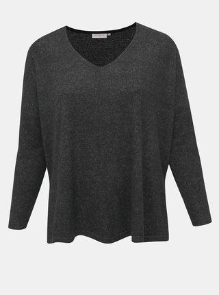 Tmavě šedý svetr s rozparky ONLY CARMAKOMA Carindia