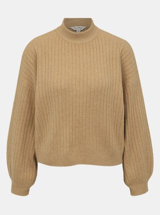 Béžový svetr s balonovými rukávy Miss Selfridge
