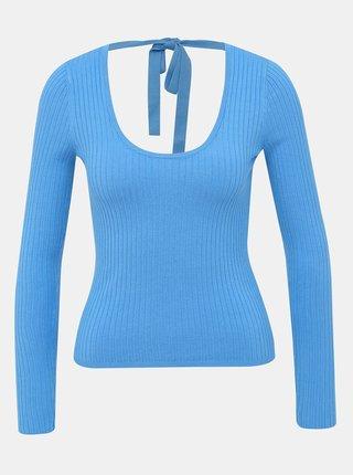Modrý sveter s výstrihom na chrbte Miss Selfridge