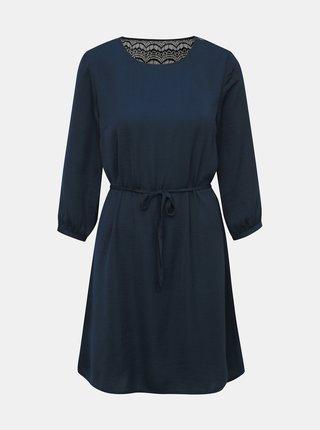 Tmavomodré šaty s krajkou VILA Solin