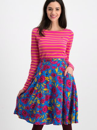 Modrá květovaná sukně Blutsgeschwister Glamourous