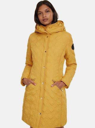 Hořčicový prošívaný kabát Desigual Leicester
