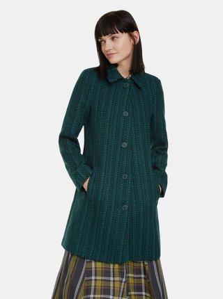 Tmavě zelený vlněný kabát Desigual Noa