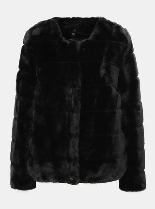 Čierny krátký kabát s umelej kožušiny Dorothy Perkins