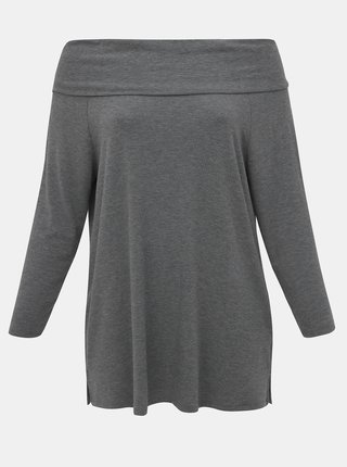 Šedé tričko s odhalenými rameny ONLY CARMAKOMA Winther