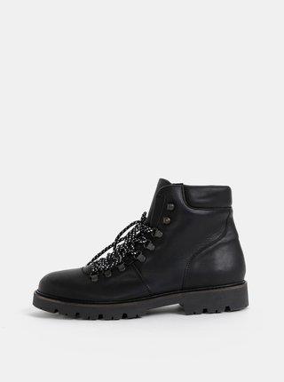 Čierne kožené členkové topánky Selected Homme Saac