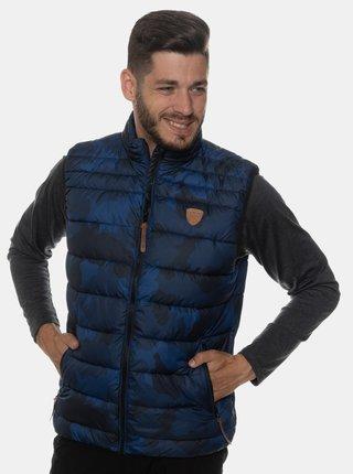 Tmavě modrá pánská vzorovaná prošívaná vesta SAM 73