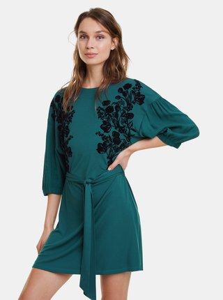 Tmavě zelené květované šaty Desigual Telma