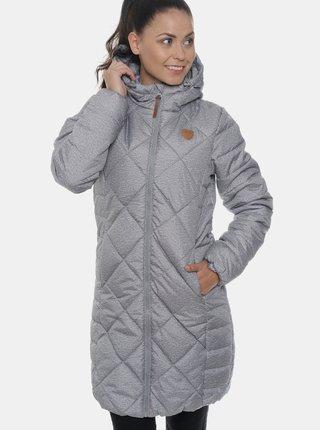 Svetlošedý dámsky vodeodolný prešívaný zimný kabát SAM 73