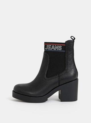 Čierne dámske kožené chelsea topánky Tommy Hilfiger Corporate