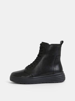 Černé dámské kožené kotníkové zimní boty na platformě Geox Phaolae