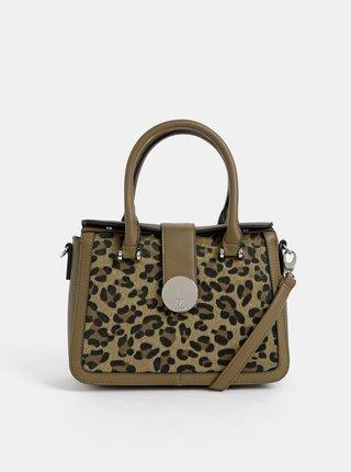Kaki kabelka s leopardím vzorom Bessie London