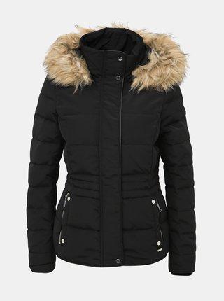 Čierna zimná prešívaná bunda s umelým kožúškom VERO MODA Vienna