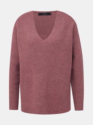 Hnedý basic sveter s prímesou vlny VERO MODA Blakely