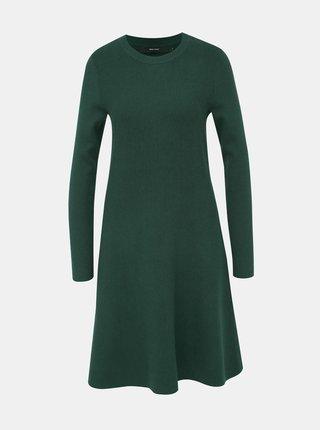 Tmavozelené svetrové šaty VERO MODA Nancy