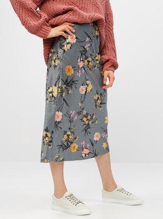 Šedá kvetovaná midi sukňa Dorothy Perkins