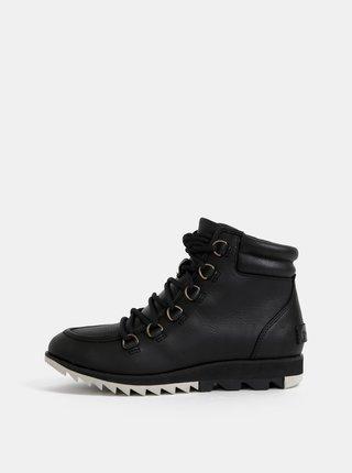 Černé dámské kožené nepromokavé kotníkové boty SOREL Harlow
