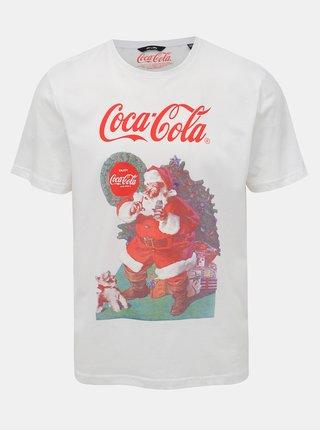 Biele tričko s potlačou ONLY & SONS Coca Cola Xmas