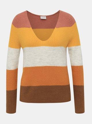 Hnedý pruhovaný sveter VILA
