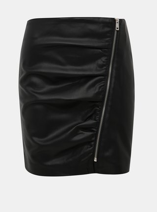 Černá pouzdrová koženková minisukně ONLY Viga