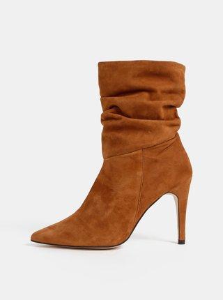 Hnědé semišové kotníkové boty OJJU