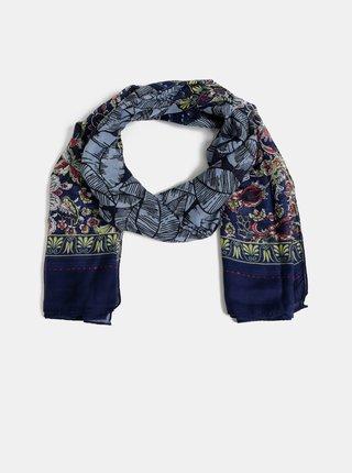 Tmavě modrý květovaný šátek Pieces Kunima
