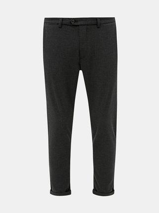 Tmavě šedé zkrácené kostkované slim fit kalhoty Jack & Jones Marco