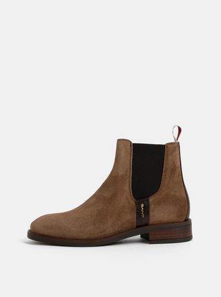 Hnědé dámské semišové chelsea boty GANT Fay