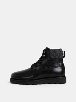 Černé pánské kožené kotníkové zimní boty s vlněnou podšívkou GANT Don