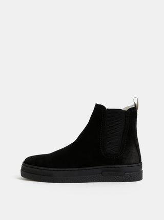 Černé dámské semišové chelsea boty s vlněnou podšívkou GANT Maria
