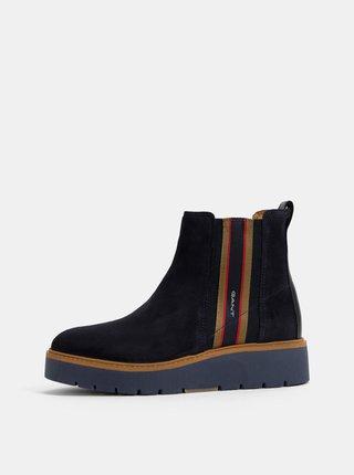 Tmavě modré dámské semišové chelsea boty na platformě GANT Casey