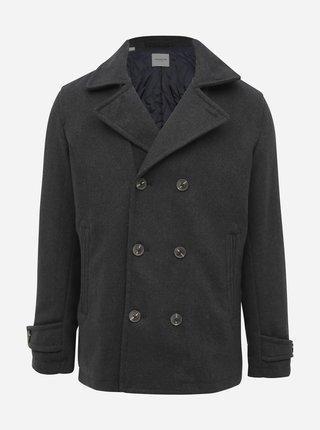 Tmavošedý vlnený krátky kabát Selected Homme Matt