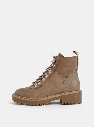 Béžové kotníkové zimní boty v semišové úpravě ONLY Bold