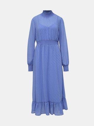 Modré bodkované midi šaty VILA