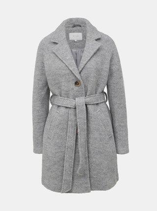 Světle šedý vlněný kabát VILA