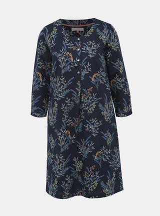 Tmavomodré ľanové kvetované šaty Brakeburn