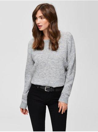 Svetlošedý basic vlnený sveter Selected Femme Sia