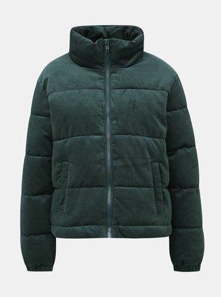 Tmavě zelená dámská manšestrová prošívaná zimní bunda Haily´s Cordy